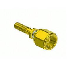 "Brass Internal Swivel 9/16"" - 18 ""B"" Female Nut to 1/4"" ID Hose Adapter"
