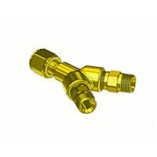 """Y"" Connector 9/16"" -18 B Int Swivel x 1/4"" Int NPT"