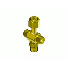 Brass Oxygen Coupler Tee, 3 CGA-540 male outlets, 1 CGA-540 Nut and Nipple