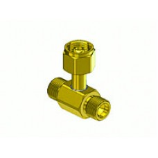 Brass Oxygen Coupler Tee, 2 CGA-540 male outlets, 1 CGA-540 Nut and Nipple, w/Check Valve