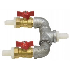 "2 Way Air Splitter w/Valves  1/2"" x 1/2"""